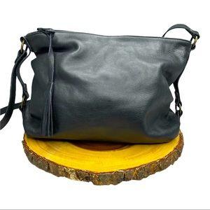 Eileen Fisher Black Genuine Leather Hobo Bag Purse